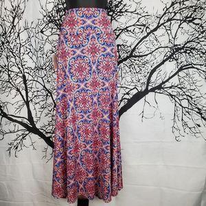 LuLaRoe Maxi Skirt Orange & Blue Print 2XL